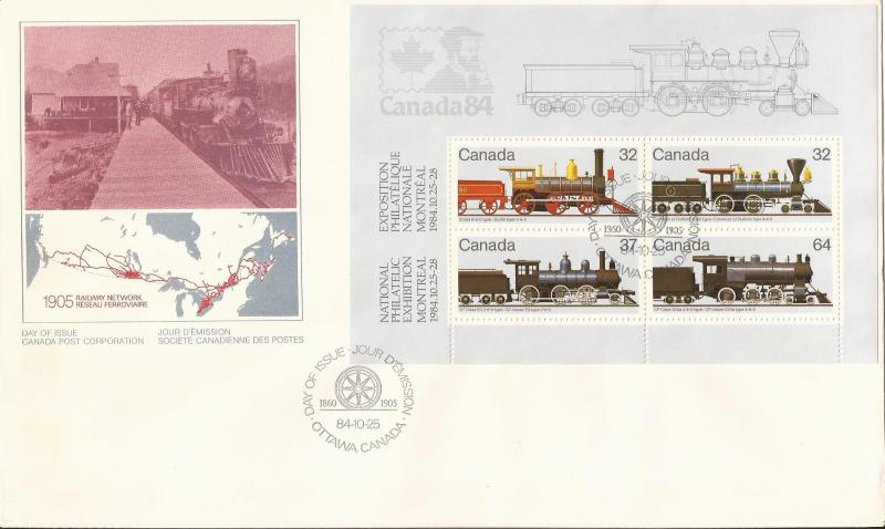 1984 Day of Issue Cover (Locomotives Canada Stamps)