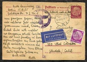 p151 - GERMANY 1940 CENSORED Airmail Postal Card to USA. Judaica Ruth Lewinsky