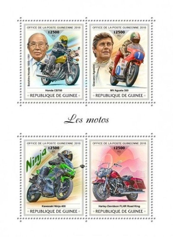 Guinea - 2018 Motorcycles on Stamps - 4 Stamp Sheet - GU18401a