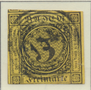 Baden (German State) Stamp Scott #2, Used, Three Margins - Free U.S. Shipping...