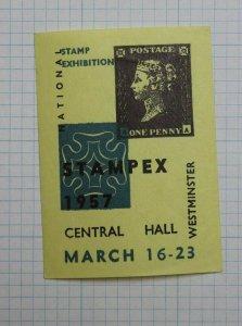 STAMPEX 6B Westminster Expo Penny Black 1957 UK Natl Philatelic Souvenir Ad