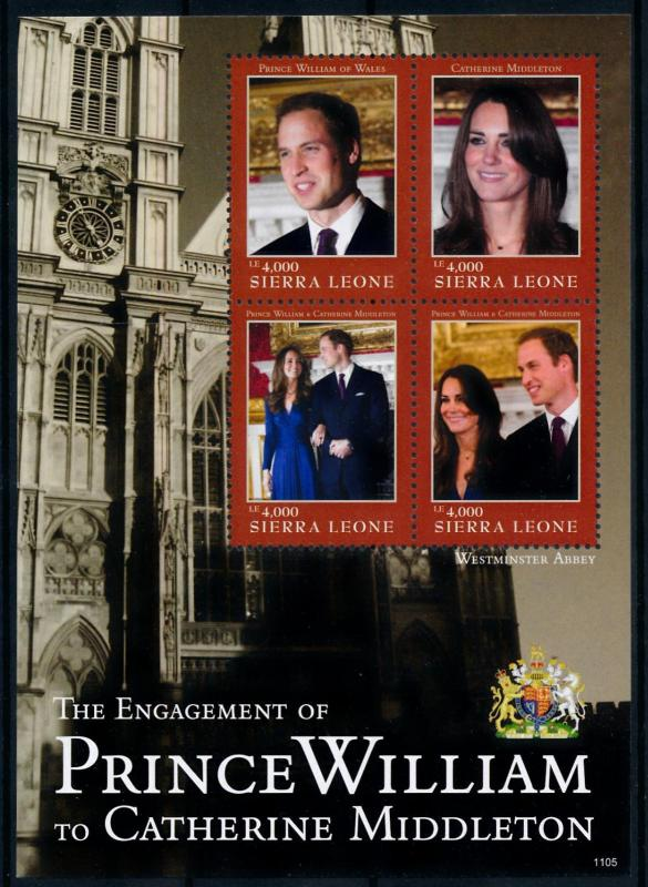 [76517] Sierra Leone 2011 Royal Engagement Prince William & Kate Sheet MNH