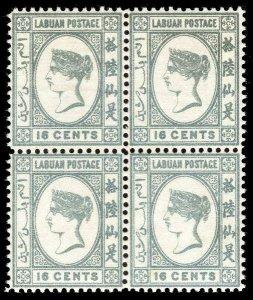Labuan 1894 QV 16c grey in an superb MNH block of four. SG 56.