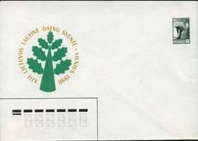 LITHUANIA 1990 - Pre-stamped Cover-Map and Angel 5k(WG156)