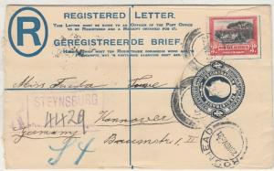 SOUTH AFRICA 1931 KGV REGISTERED 4D POSTAL STATIONARY ENVELOPE TO GERMANY
