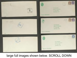 3 Canadian Pacific Railway receiving 'Ticket stamps perfins