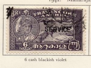 Travancore 1942 Early Issue Fine Used 6ca. Optd 219077