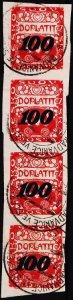 Czechoslovakia. 1924 100 on 400h(Strip of 4) S.G.D236 Fine Used