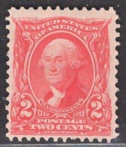 US Stamp #301 2c Carmine Washington MINT NO GUM SCV $$15 (as hinged)