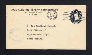 U418 5c Envelope VOSS ALCOHOL EXPORT To South Africa - CENSOR