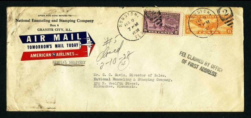 Airmail Special Delivery National Enameling, Houston, TX to Milwaukee, WI 2-9-38