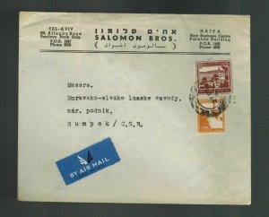 1939 Haifa Palestine cover to Sumpek Czechoslovakia CSR Salomon Brothers