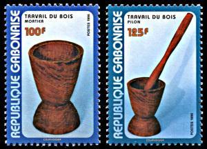 Gabon 930-931, MNH, Woodcraft