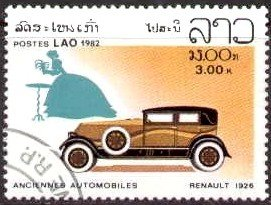 Classic Automobile, 1926 Renault, Laos stamp SC#417 used
