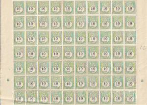 J2 Luxembourg Mint OGNH sheet of 100 folded with crease at fold
