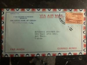 1956 The royal bank of canada Habana Cuba Airmail cover to New York USA