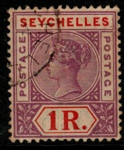 SEYCHELLES SG34 1897 1r BRIGHT MAUVE & DEEP RED USED