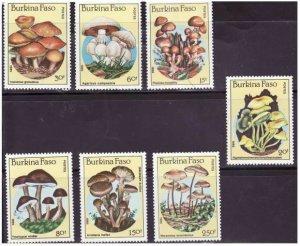 Burkina Faso - Mushrooms -  Set of 7 Stamps - 743-9