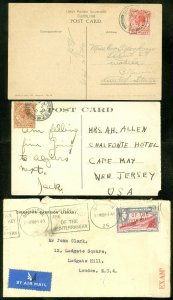 EDW1949SELL : GIBRALTAR 2 Early Post cards & 1 Censored cover.
