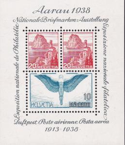 Switzerland 1938 Aarau Souvenir Sheet Expo & 25th Anniversary of Airmail. VF/NH