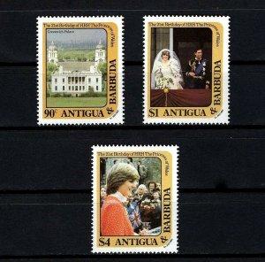 ANTIGUA - 1982 - PRINCESS DIANA - 21st BIRTHDAY - GREENWICH PALACE ++ MNH SET!