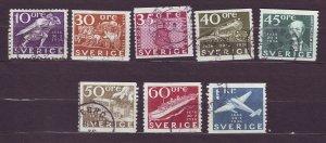 J22834 JLstamps 1936 sweden part of set used #249,256-62 designs
