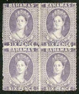 Bahamas SG19 1862 6d lavender-grey Unused block of FOUR Extraordinarily RARE