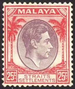 Straits Settlements Sc# 246 MH 1937-1941 25c rose red & violet KGVI