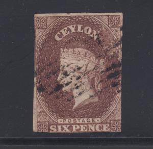 Ceylon Sc 6A used. 1857 6p plum Queen Victoria, imperf