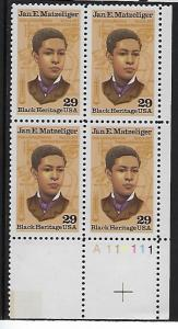 Catalog # 2567 Plate Block of 4 Stamps Black Herritage Jan E Matzeliger Inventor