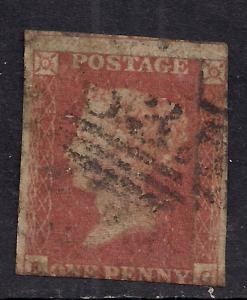 GB 1841 QV 1d Penny Red Imperf Blued Paper used ( K&G ) ( K696 )
