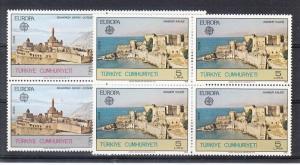 Turkey Scott 2891-2892 Mint NH blocks (Catalog Value $76.00)