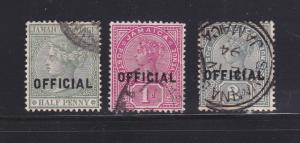 Jamaica O2-O4 Set U Official Stamps