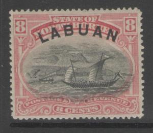 LABUAN SG68 1894 8c ROSE-RED p14½-15 MTD MINT