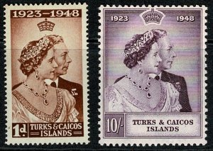 TURKS & CAICOS KGVI 1948 ROYAL SILVER WEDDING SET VFU SG208-09 Wmk.MSCA VGC