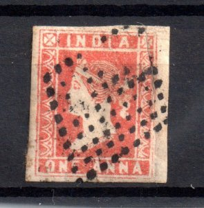 India QV 1854 1A red fine used 4 large margins WS16697