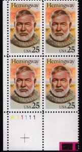 United States 1989 Literary Arts Ernest Hemingway Plate Number Block VF/NH