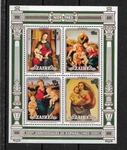 Zaire MNH S/S 1129a-d Christmas 1983