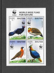 BIRDS - BHUTAN #1398 WWF MNH