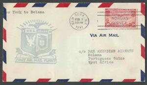 1941 COVER FAM 18 #F18-20 W/C22 TO BOLAMA GUINEA-BISSAU VIA PAN AM