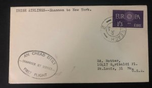 1960 Shannon Ireland First Flight Cover FFC To New York Usa Shamrock Jet Service