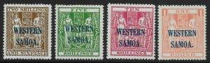SAMOA SG207/10 1945-8 ARMS OVPT SET TO 1 MNH