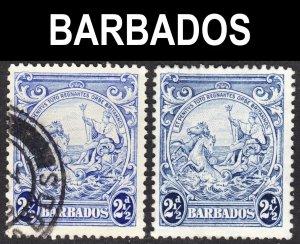 Barbados Scott 196 SHADE ERROR F to VF used & unused no gum.