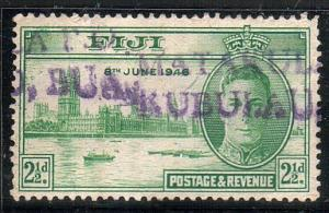 FIJI 1946 Victory 2½d scarce straight line cancel MATAKULA PO in violet...12198