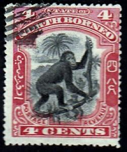 North Borneo #104 Orangutan, 1899. Used, HM
