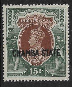 INDIA-CHAMBA SG98 1938 15r BROWN & GREEN MTD MINT