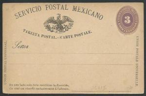 MEXICO 1880s 3c postcard unused............................................60367