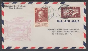 Portugal Sc 596, C6 on First Flight Cover, Lisbon to USA via Bolama VF