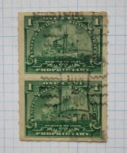 US IR Proprietary 1898 battleship revenue pair Boston  MA 1900 cancel 1c green