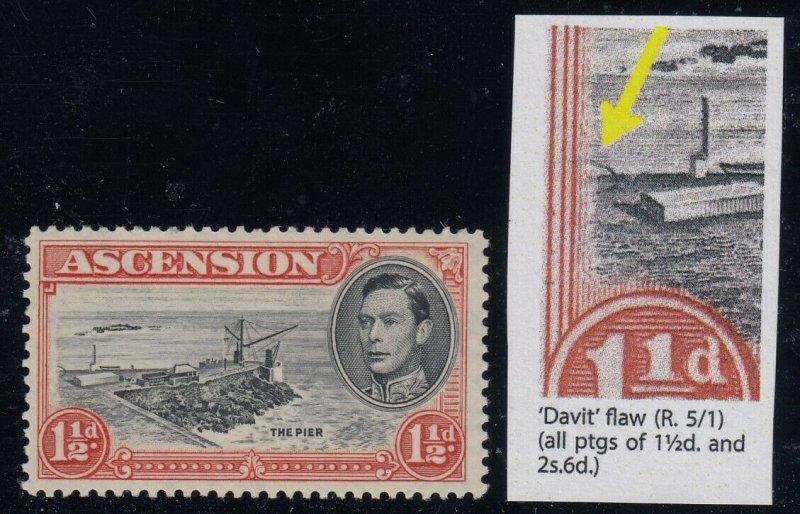 Ascension, SG 40ba, MLH Davit Flaw variety